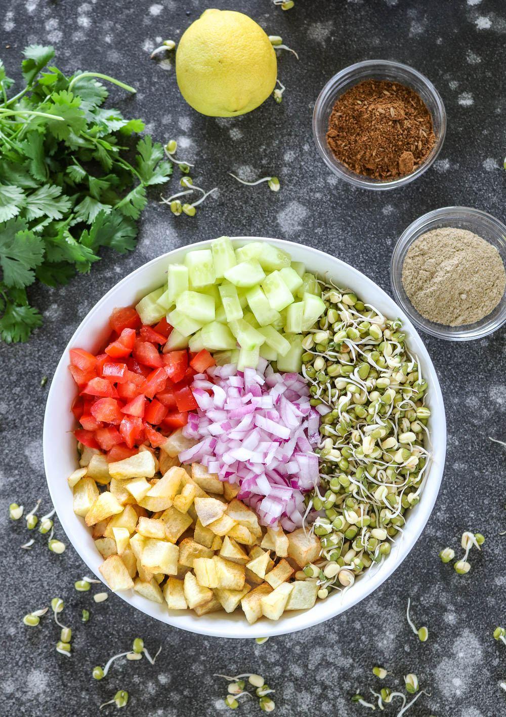 Assembled sprouts salad - Ruchiskitchen