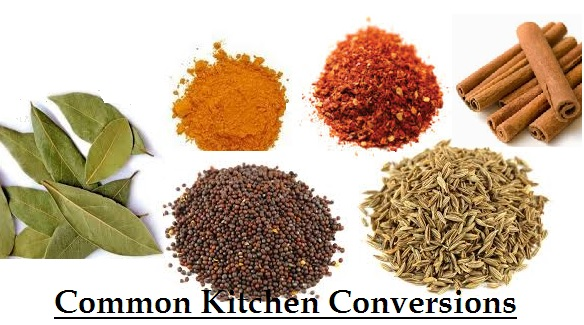 Common Kitchen Measurements (Dals, Spices, Fruits..)