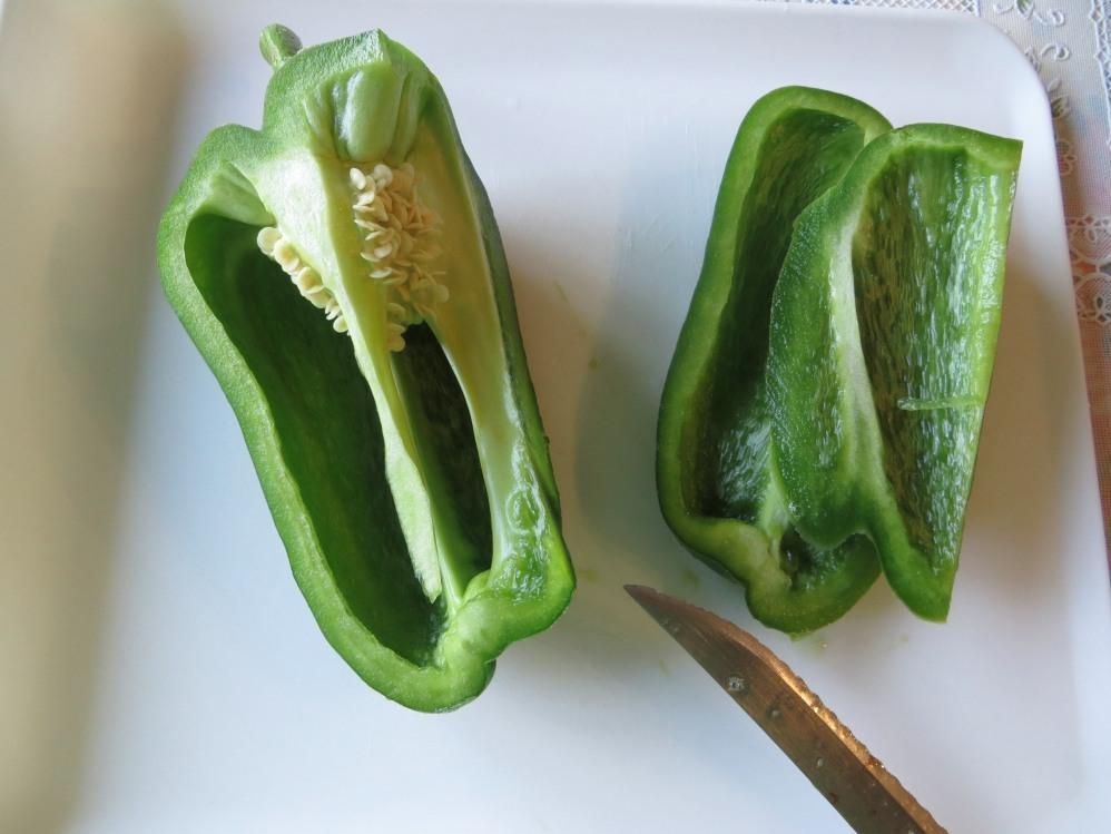 Cutting a capsicum/ Bell pepper
