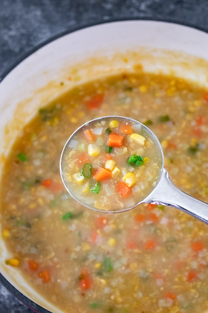 Thickened corn soup