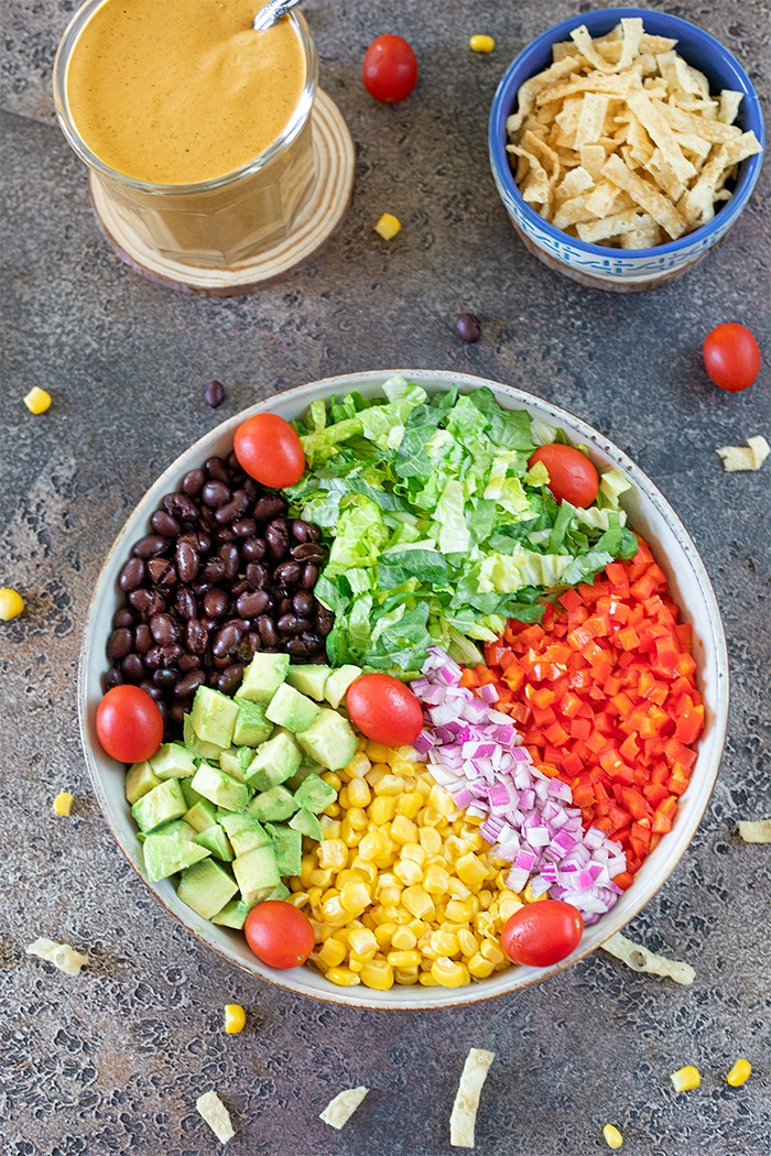 Ingredients for Southwestern black bean and corn salad