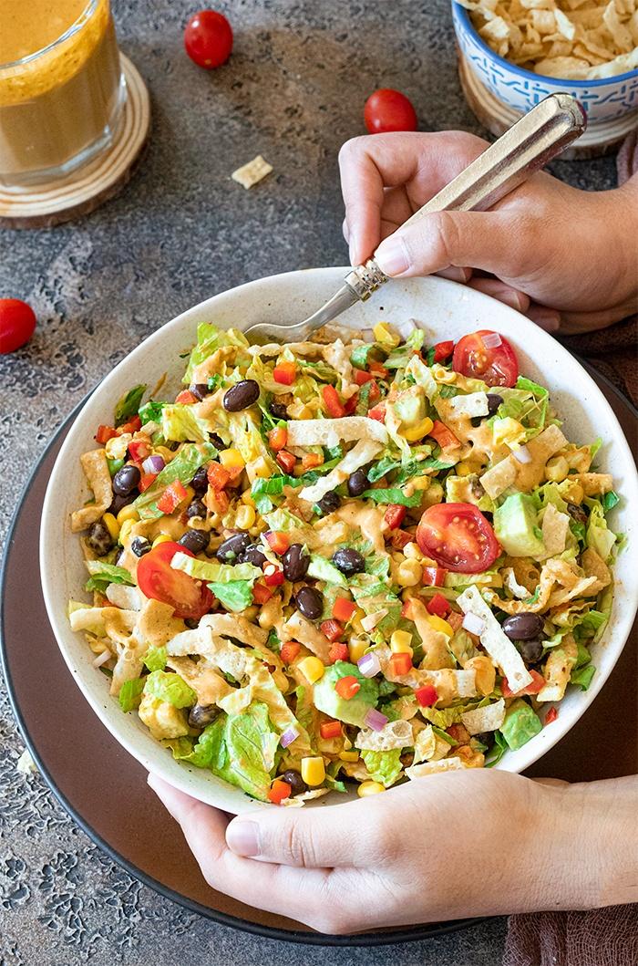 Serve and enjoy Southwestern black bean and corn salad