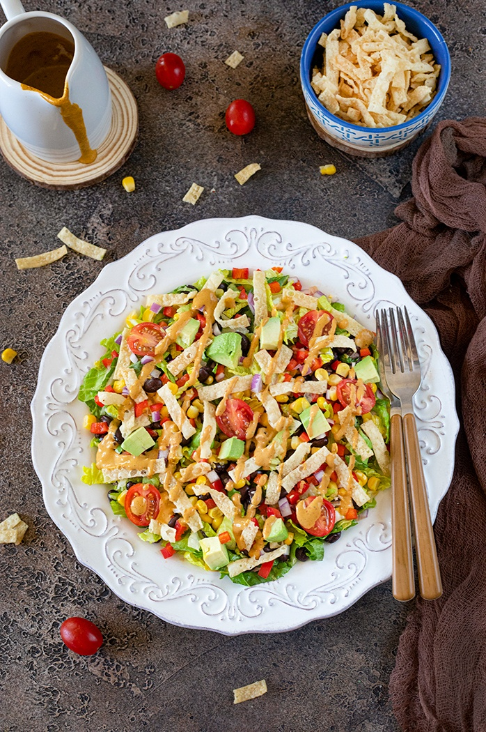 southwestern black bean and corn salad on a plate