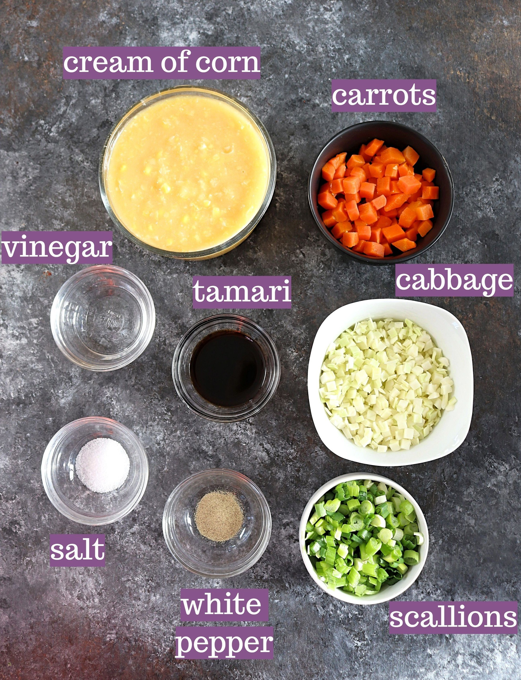 Ingredients that make up the soup