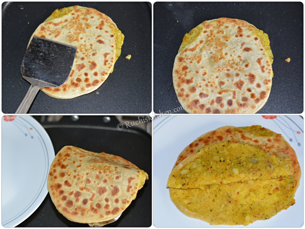 Aloo paratha cooked