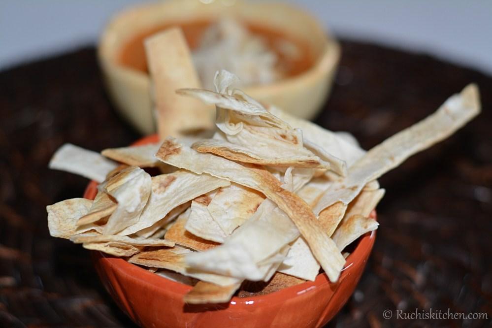 Homemade baked tortilla strips