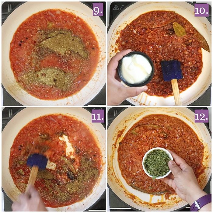 Adding spices to chicken Keema recipe