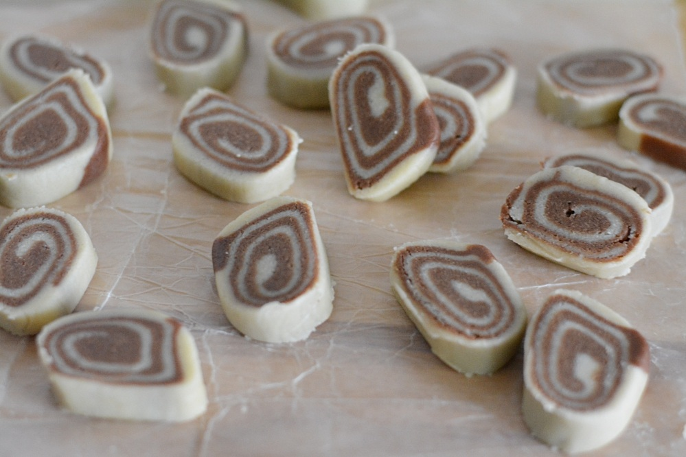 Pinwheel cookies - cut into rolls