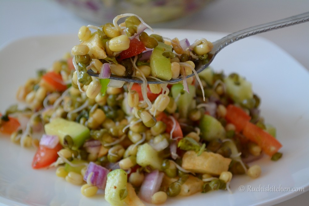 Sprout salad on a fork