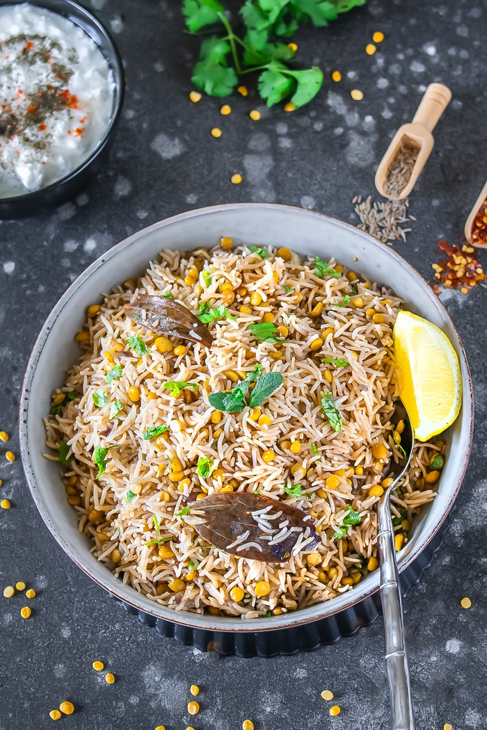Chana Dal Pulao in a  bowl