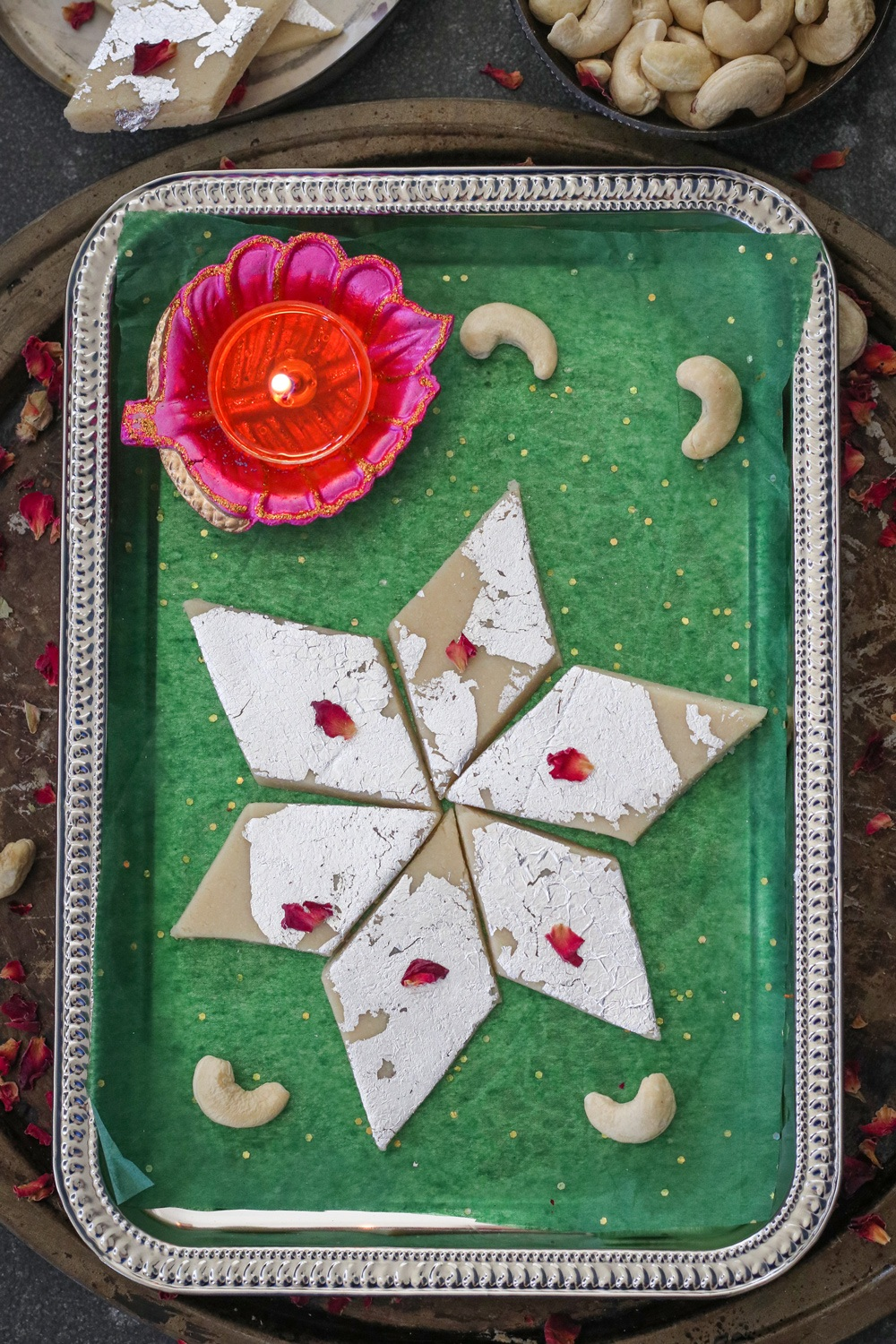 Kaju Katli recipe staged in a tray