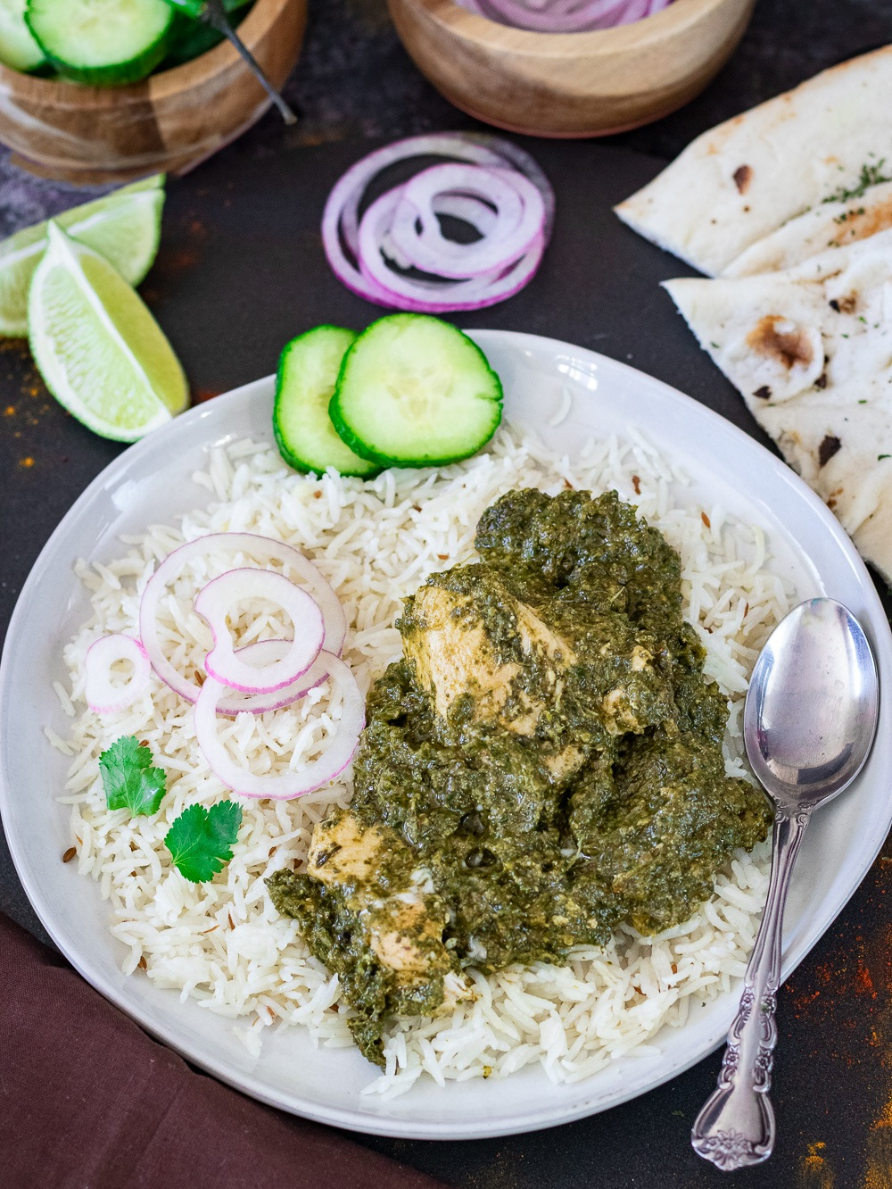 Saag Wala Chicken or Palak Chicken with rice