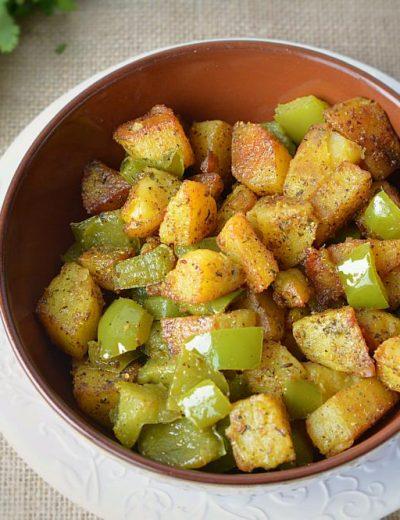 Alu Capsicum – no onion no garlic recipe