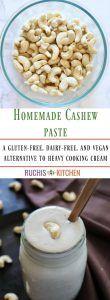 How to make a vegan cashew paste or cashew cream - Ruchiskitchen