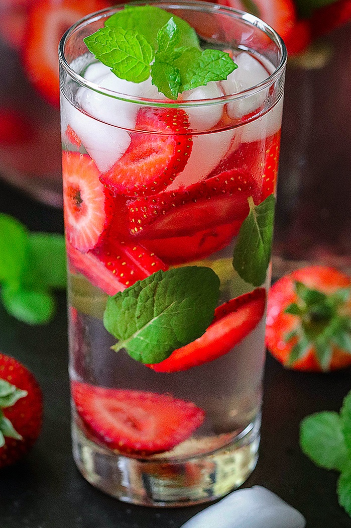 Strawberry infused summer drink with mint.