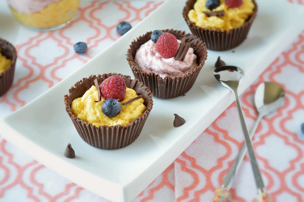 Chocolate Cups Filled With Eggless Mango- Raspberry Mousse