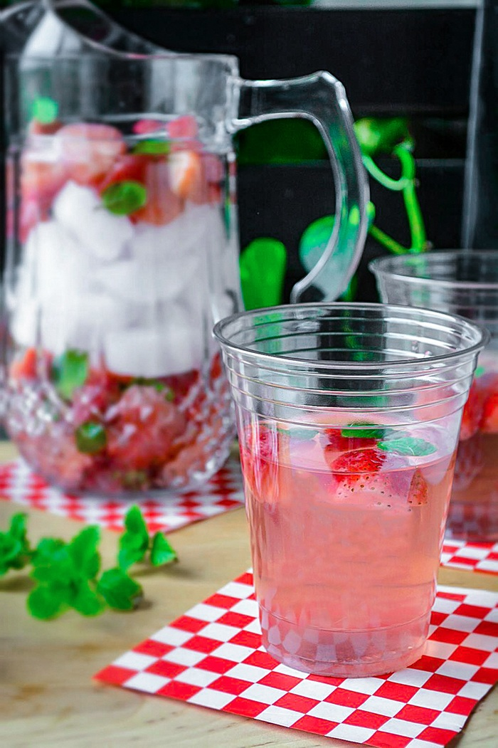 Strawberry flavored water with pitcher