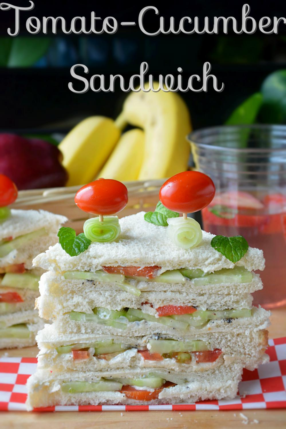 Tomato cucumber Veggie Sandwich