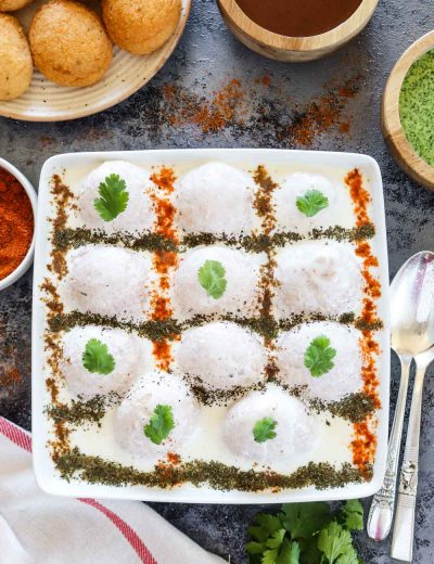 Dahi Bhalla in a square bowl - Ruchiskitchen