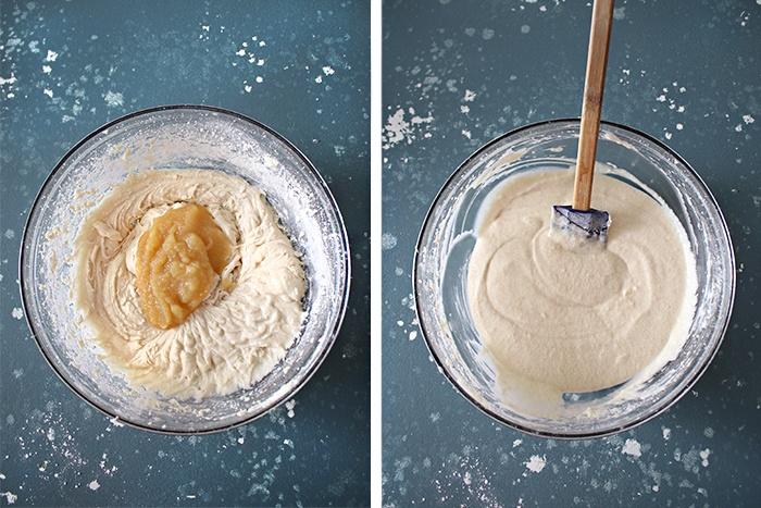 Add applesauce to Eggless vanilla cupcakes