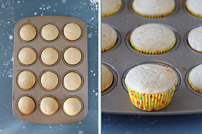 Bake the Eggless vanilla cupcakes in the oven
