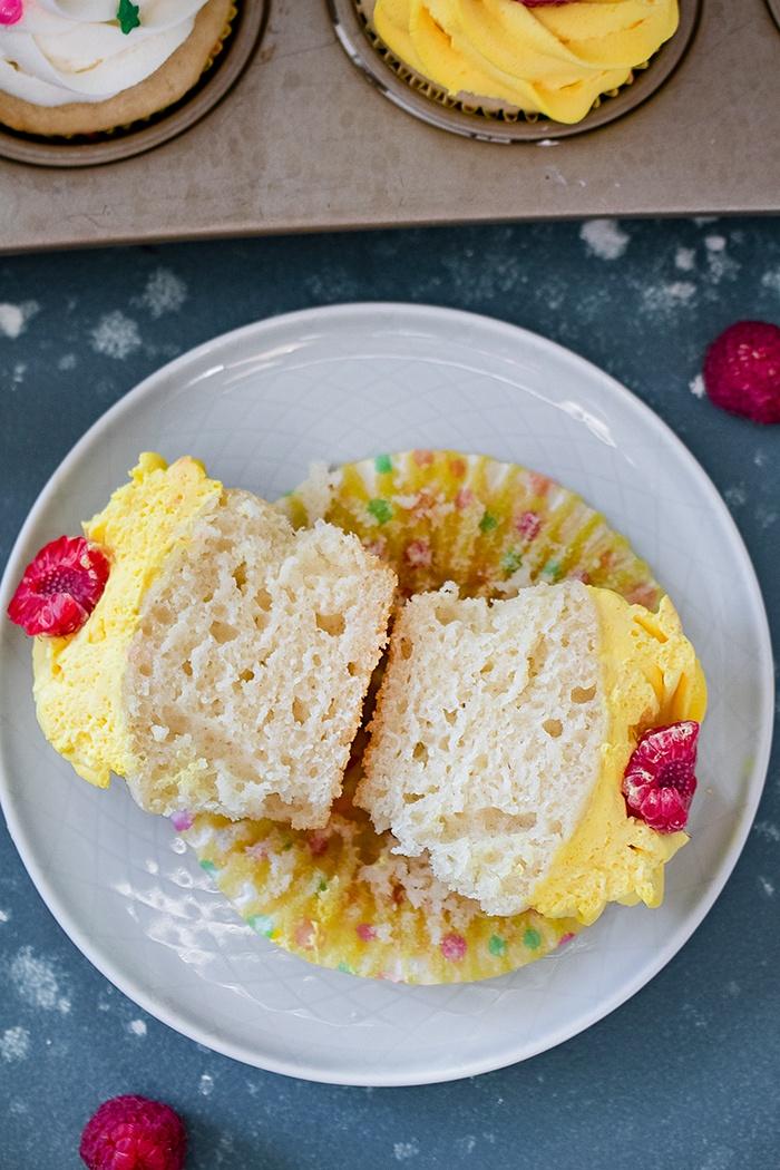 Sliced eggless vanilla cupcakes