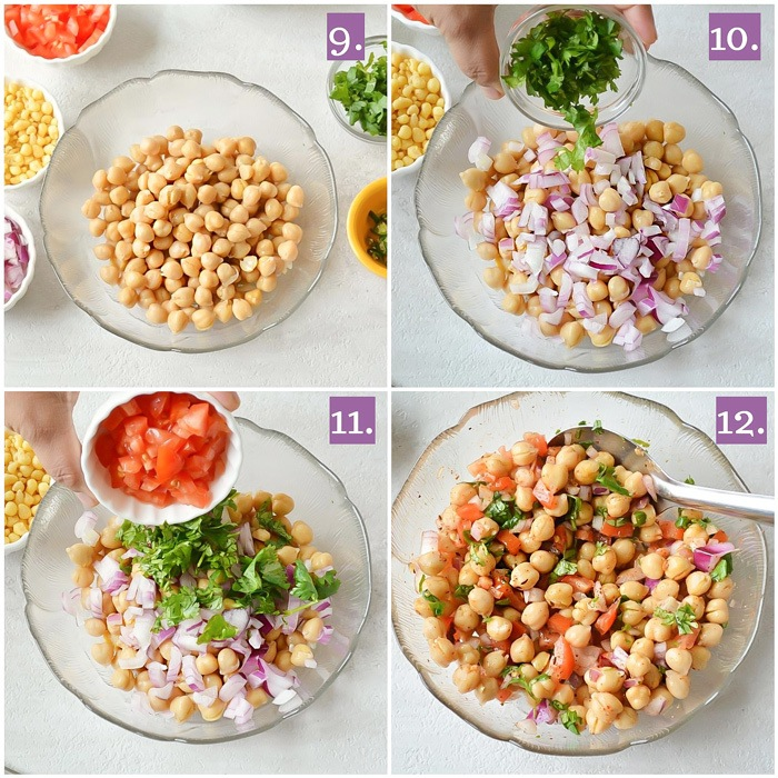 Making of chickpea salad