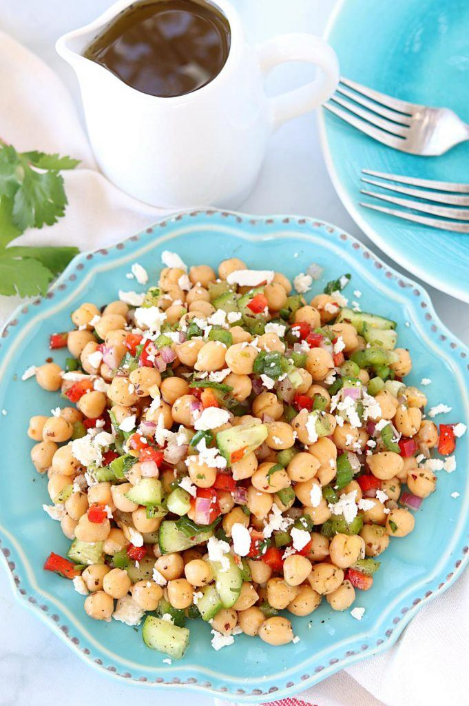 Top view of Chana Salad or Chickpea Salad