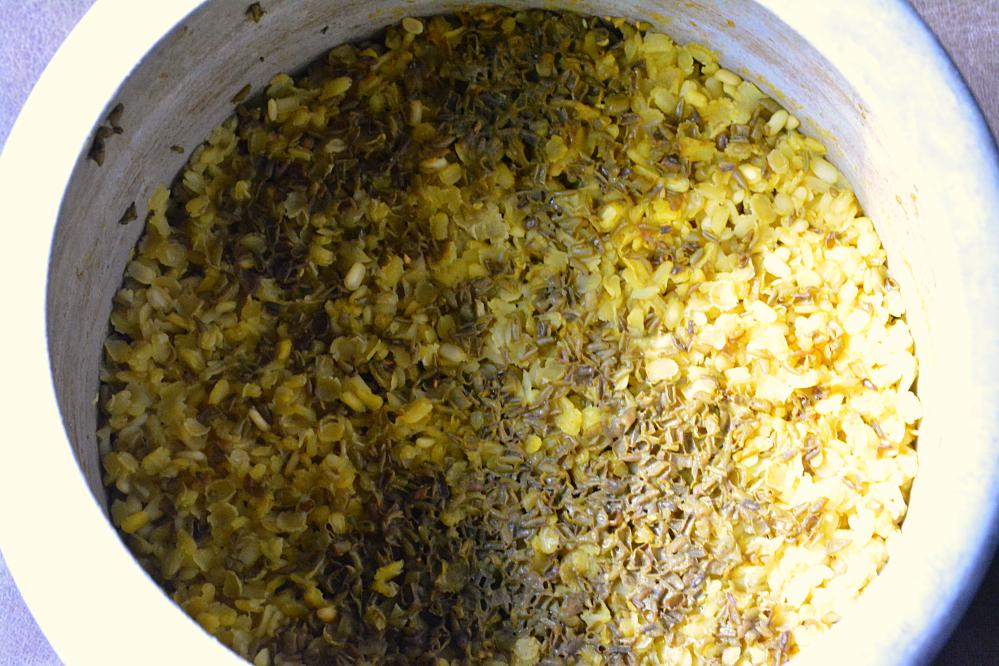Lentils cooked in pressure cooker