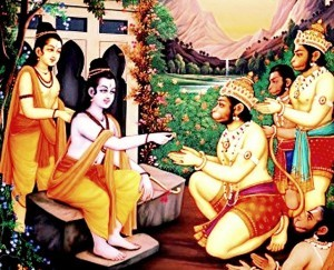 rama giving mudrika to hanuman