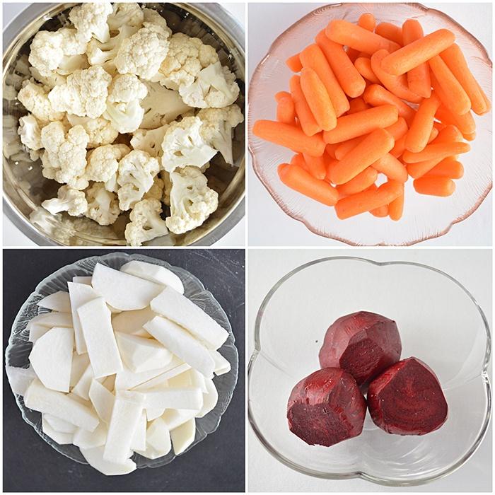 Peel vegetables for the achar