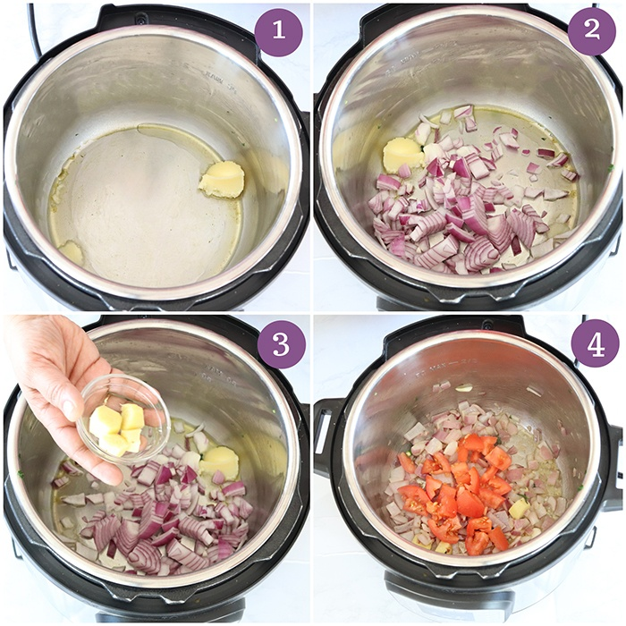 Cook onion and tomato in Instant Pot