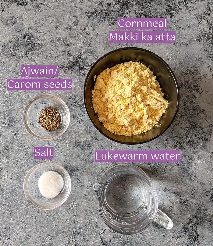 Ingredients for Makki ki roti