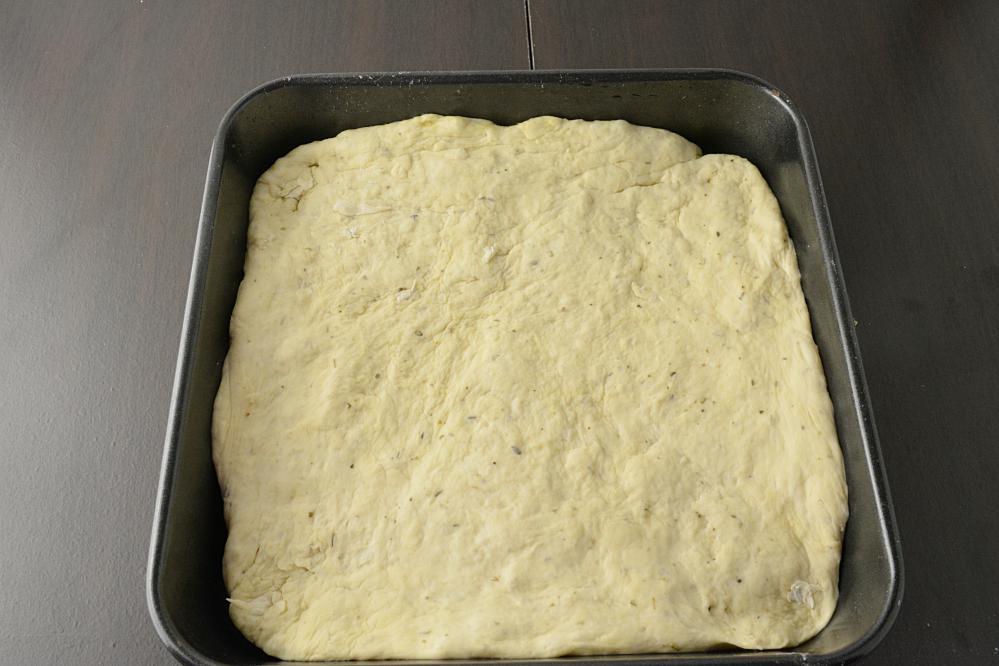 Focaccia bread recipe ready for baking