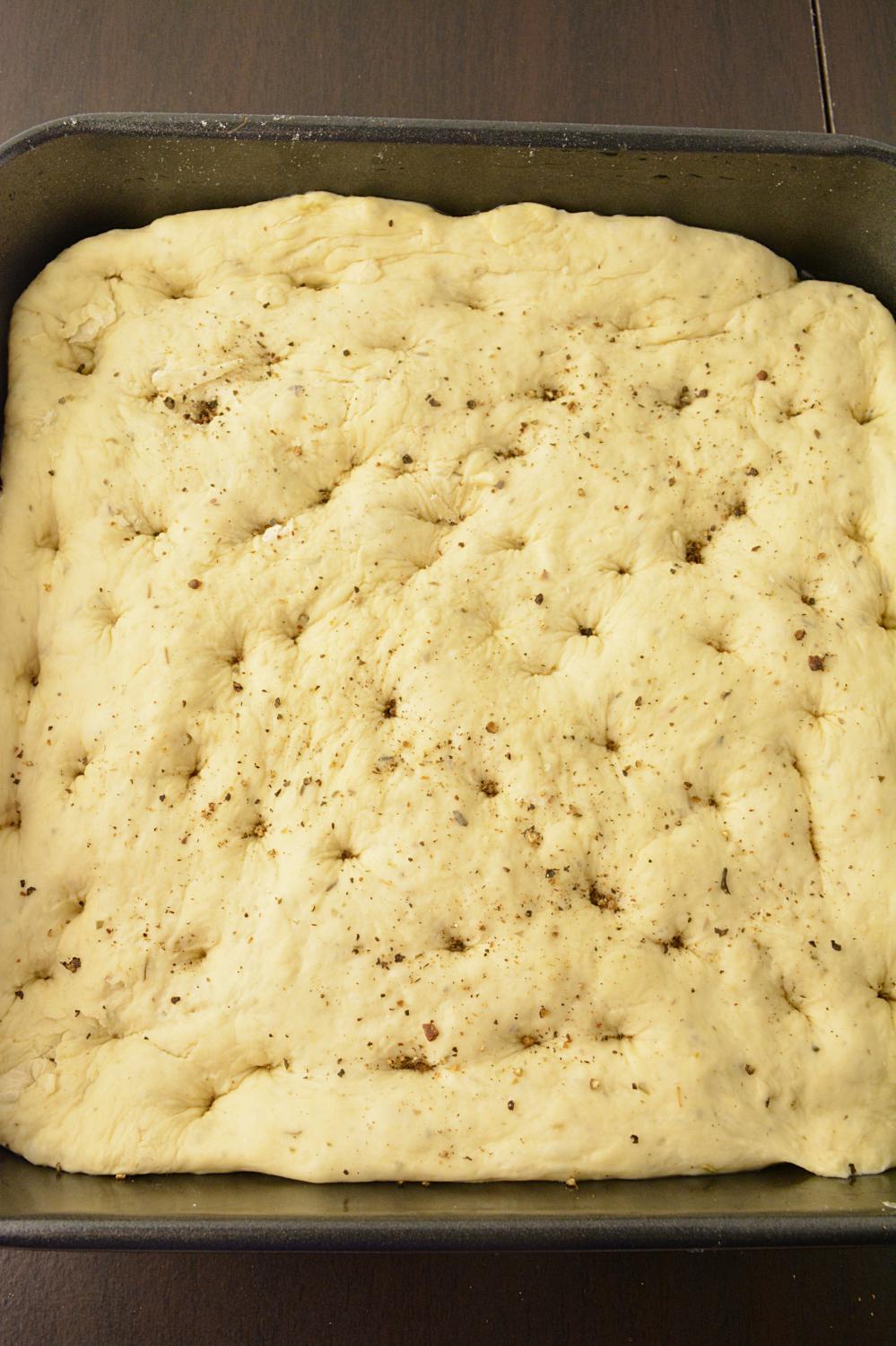 In process shot of Focaccia bread recipe