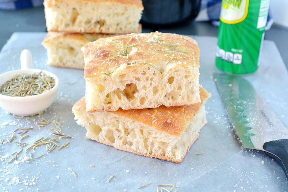 Cut pieces of Focaccia bread