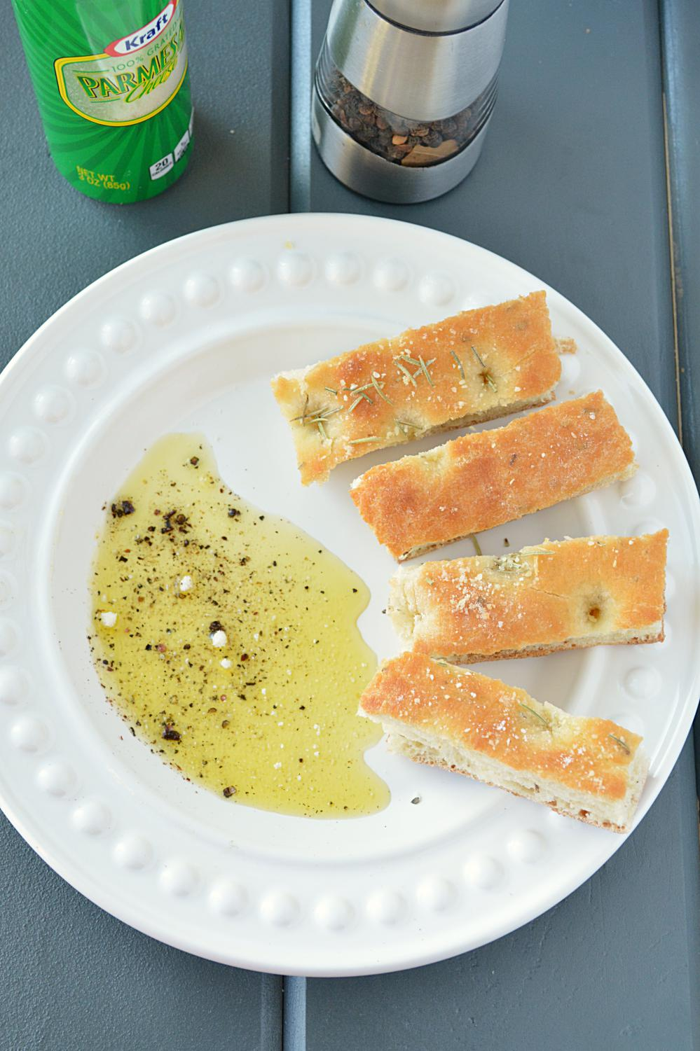 Focaccia bread served with olive oil