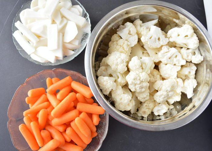 Sliced vegetables for achar