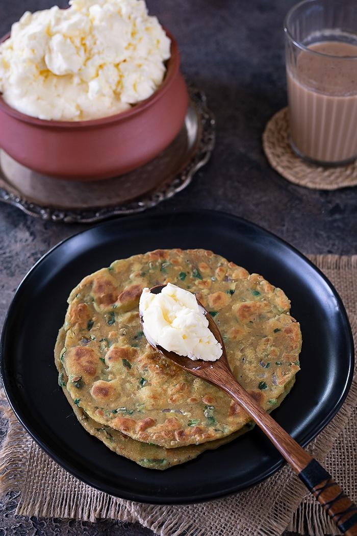 Homemade white makhan on a paratha