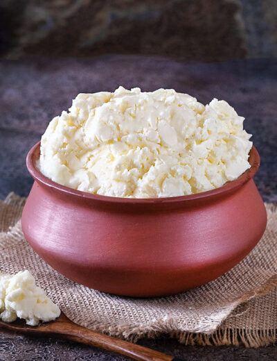 Homemade white Makhan in a matki