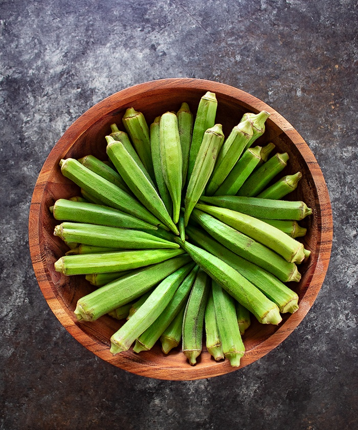 Okra arranged in a bowl