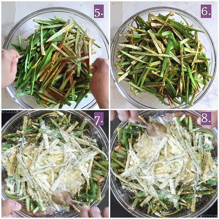 Toss bhindi in besan