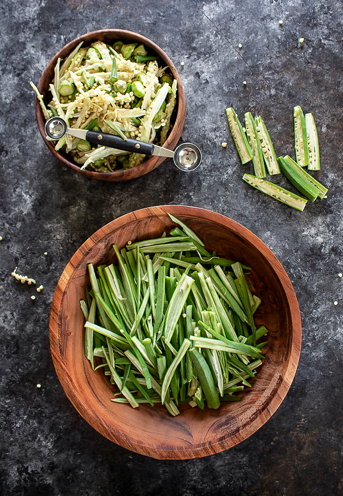 How to de-seed and cut bhindi