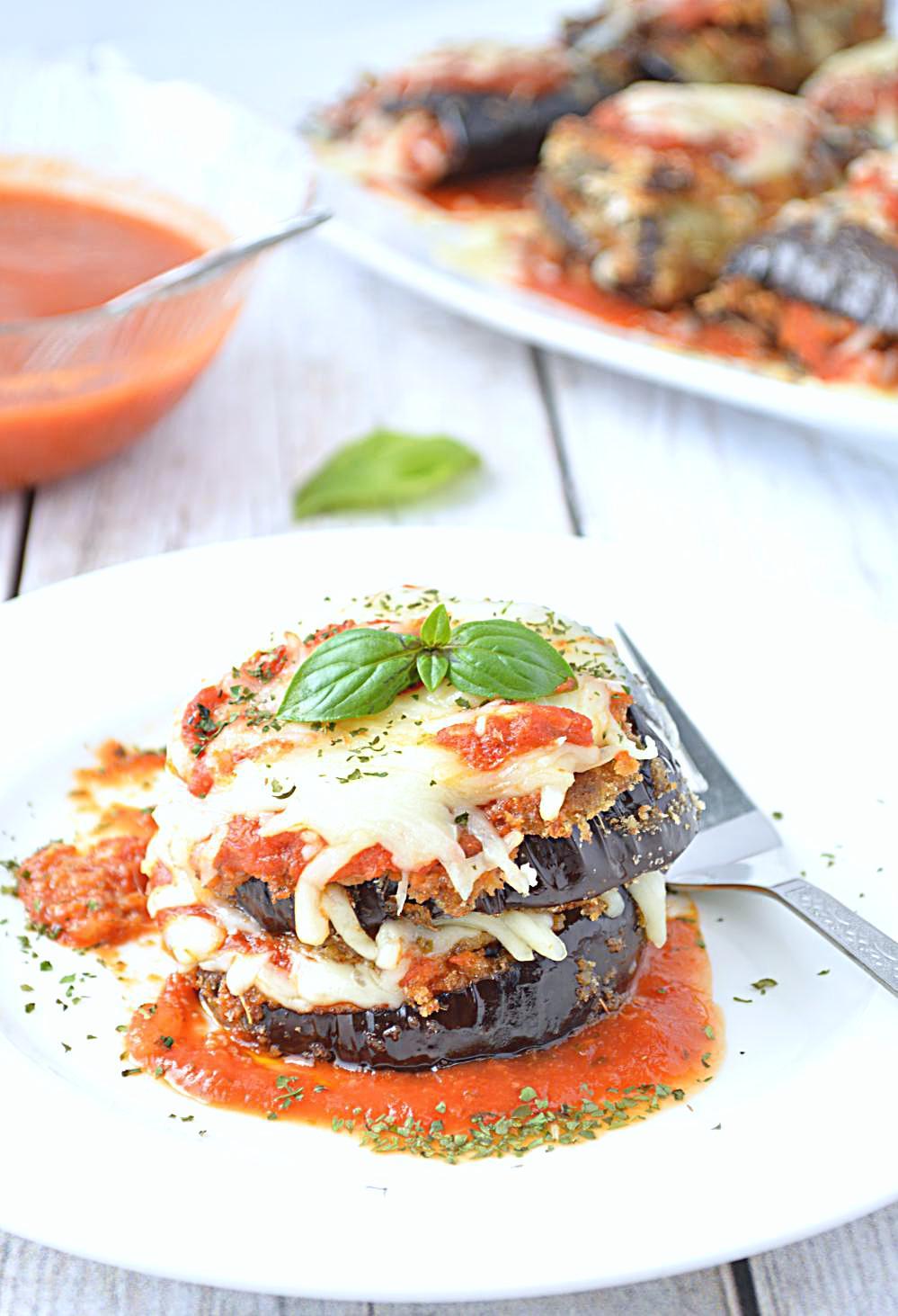 Pan cooked Eggplant Parmesan Stacks image