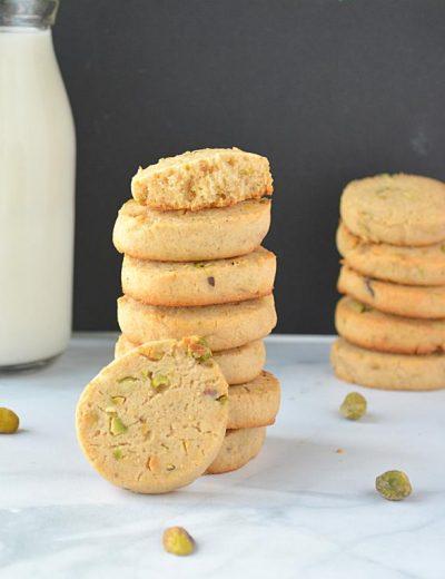 Eggless Wholewheat Pistachio Cookies