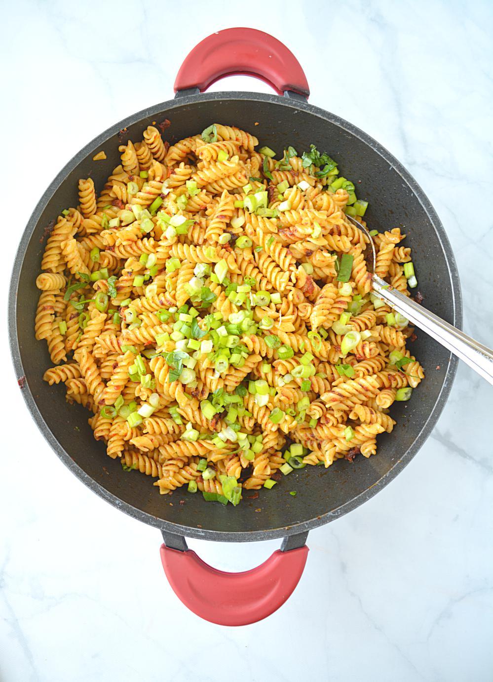 Pasta with Spicy Sun Dried Tomato Pesto