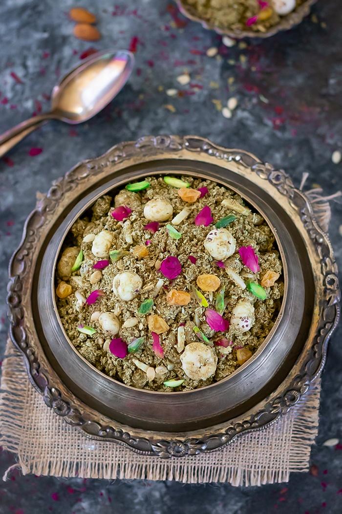 Dhaniya Panjiri for Janmashtami in a bowl