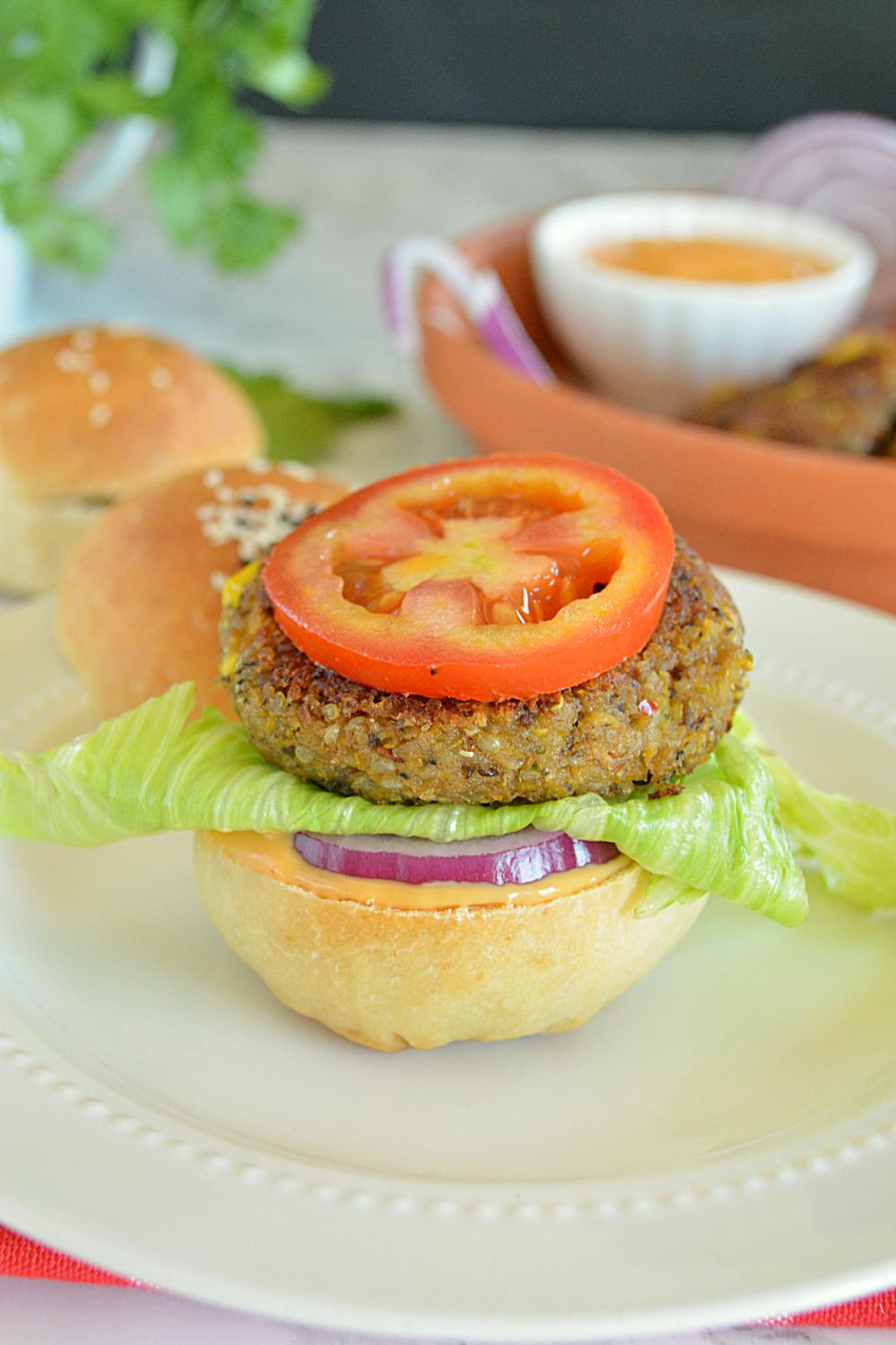 Spicy Black Bean Quinoa Burger