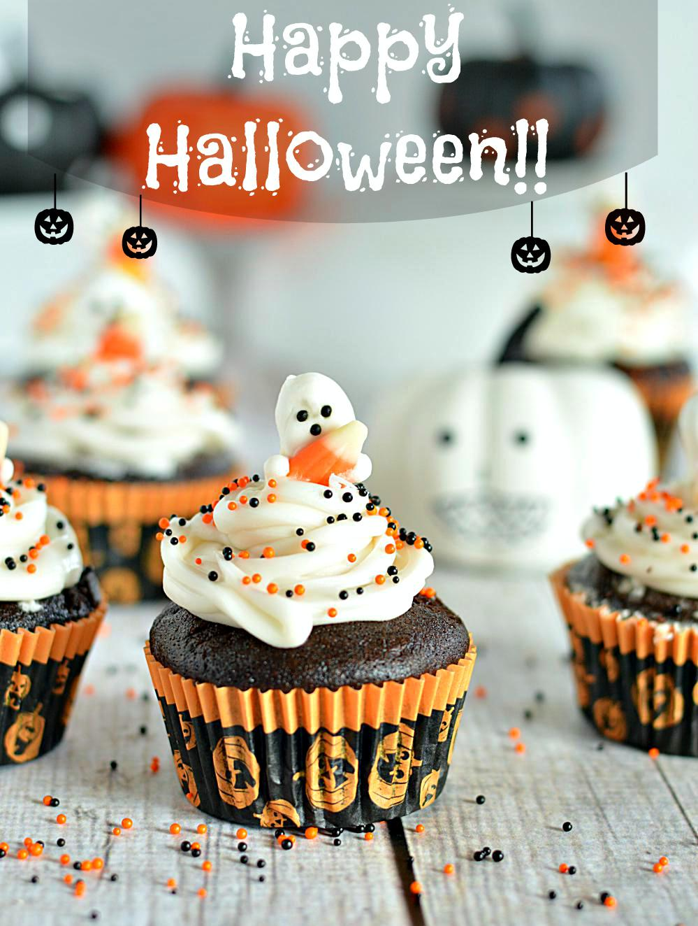 Super Moist Eggless Chocolate Cupcakes. These Halloween Chocolate Cupcakes are simply to die for! So Chocolate-y, delicious and super moist. Vegan, dairy-free and butter-free recipe!! www.ruchiskitchen.com