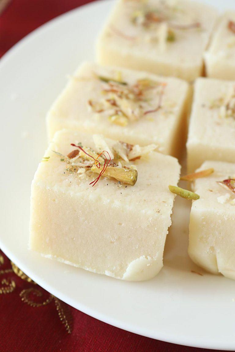 Eggless Burfi Cake Recipe